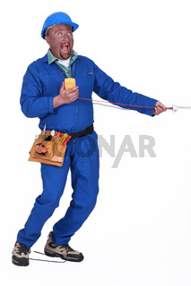 A man being electrocuted