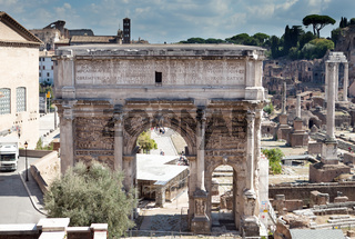A triumphal arch and Roman Forum