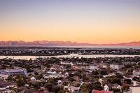 Elevated panoramic view Zandvlei lake in Muizenberg, Cape Town