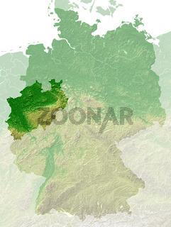 Nordrhein-Westfalen - topografische Relief karte