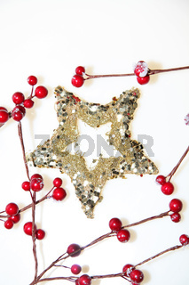 Christmas decoration stars with red berrys