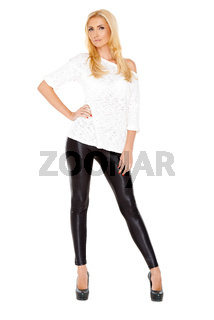 Sexy blond woman standing isolated