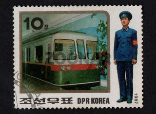 Post stamps printed in DPR Korea in 1987 dedicated electric trains and conductor