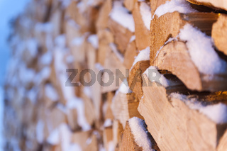 firewood with snow side view evening