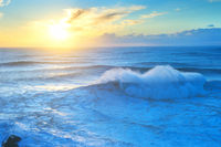 Waves Atlantic ocean sunset Portugal