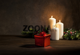 Candles present in Christmas setting