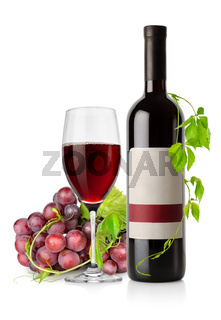 Bottle of red wine and grape