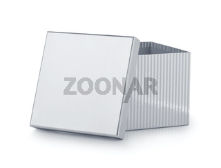 Open silver striped gift box with blank cover