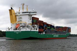 Containerfrachtschiff Heinrich Ehler im Nord-Ostsee-Kanal.