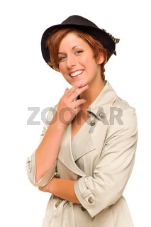 Attractive Red Haired Girl Wearing a Trench Coat and Hat