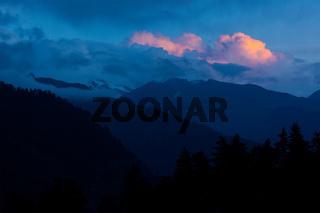 Sunset in Himalayas. Manali