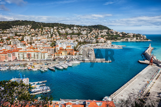 View Above Port of Nice on French Riviera