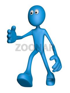 blaue figur reicht die hand - 3d illustration