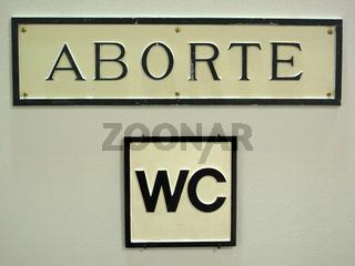 Schild zum WC