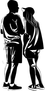 Black and white image of a guy and a girl standing next to each other