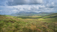 Beautiful valley with green fields, forest and lake, surrounded by hills, Dingle Peninsula