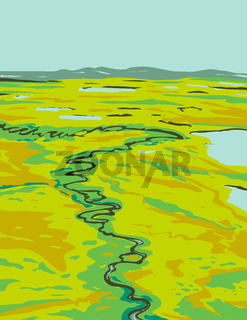 A River Snaking Its Way Through the Tundra in Southeast Cape Krusenstern National Monument Located in Alaska United States WPA Poster Art