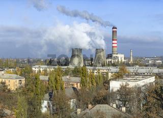 Soviet-era thermal power plant in the midst of residential area, Gresovskiy, Crimean autonomy, Ukraine