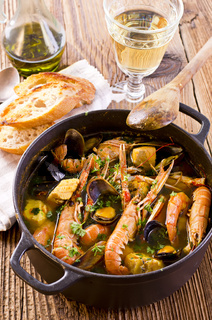 Bouillabaisse soup in the casserole