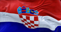 Detail of the national flag of Croatia flying in the wind