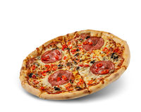 Pizza with cheese and tomato sauce isolated on white background. salami and pepperoni topping.