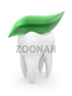 Tooth and tooth-paste on white isolated background. 3d
