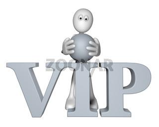 weiße figur und das wort vip - 3d illustration