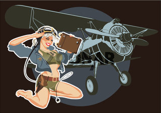 Vector retro military pin-up