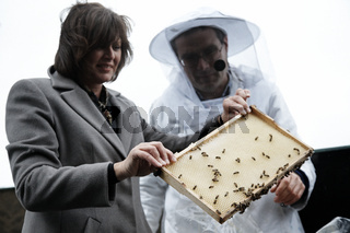Bee App presented by Federal Minister Ilse Aigner and beekeepers Uwe Marth in Berlin.