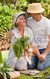 Lovely couple with vegetables