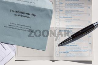 Bundestagswahl: Wahlzettel für Briefwahl