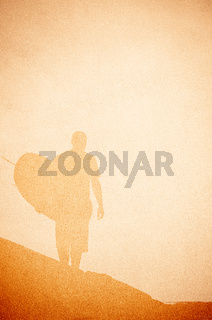 Surfer with board silhouette