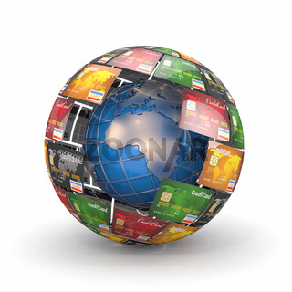 Earth in sphere from credit cards. 3d