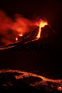 Fagradalsfjall volcanic eruption at night, Iceland