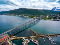 Bridge of city Tromso, Norway