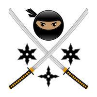 Cartoon Ninja Face Icon with Katana and Metal Stars Isolated on White Background. Warrior Logo