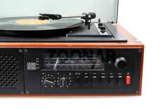 Vintage radio gramophone player with vinyl
