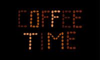 Phrase Coffee Time made of coffee beans of different roasting degree on black background. Template f
