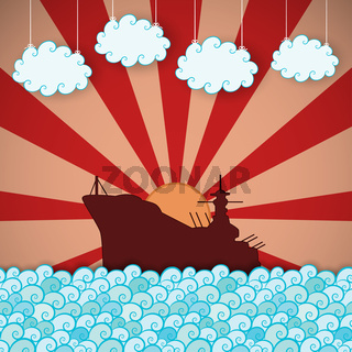 Retro poster of battleship