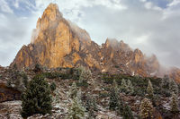 The first snow fell. Dolomites