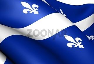 Flag of Quebec. Close up.