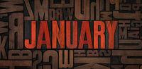 Retro letterpress wood type printing blocks - January