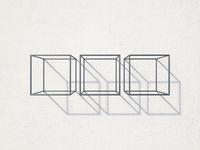 Three metal cubes like wall racks 3D