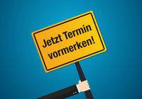 Save the Date in German language on vector place sign