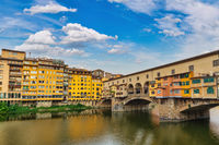 Florence Italy, city skyline at Ponte Vecchio Bridge and Arno River, Tuscany Italy