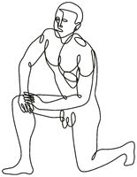Nude Male Human Figure Kneeling on One Knee Done Continuous Line Drawing