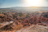 Red valley in Cappadocia at sunset time