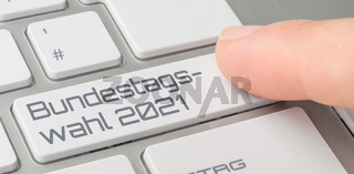 A keyboard with a labeled button - Parliamentary election 2021 in german - Bundestagswahl 2021