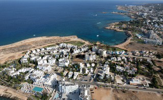 Aerial drone photograph of fig tree bay beach. Summer vacations cyprus.