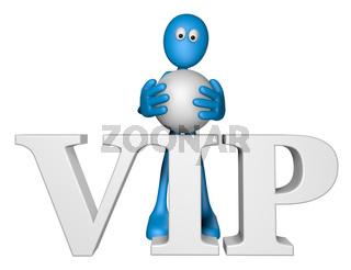 blaue figur und das wort vip - 3d illustration